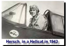 Hersch in the cockpit of a Hellcat in 1943
